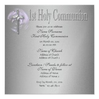 Primer gris del rosa de la comunión santa invitación 13,3 cm x 13,3cm