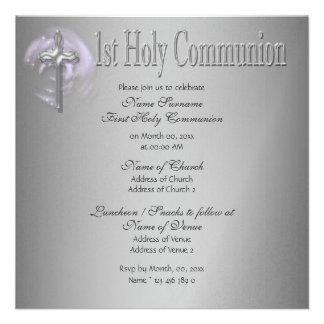Primer gris del rosa de la comunión santa anuncio