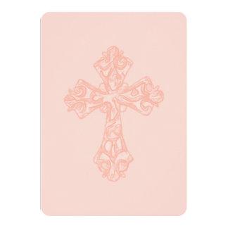 Primer melocotón de la cruz de la acuarela de la invitación 12,7 x 17,8 cm