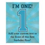 Primer muchacho del cumpleaños, soy uno, número az flyer personalizado