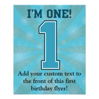 Primer muchacho del cumpleaños, soy uno, número flyer personalizado