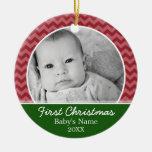 Primer navidad de Babys - galones rojos y verde Ornamento De Navidad