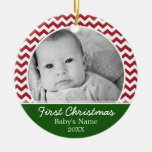 Primer navidad de Babys - galones rojos y verde Ornamento De Reyes Magos