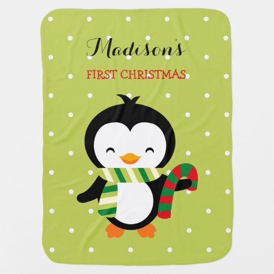 Primer navidad del bebé lindo del pingüino con los mantita para bebé