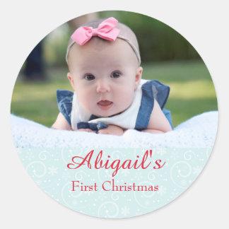 Primer navidad del bebé personalizado pegatina redonda