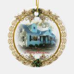Primer navidad en el nuevo ornamento casero adorno navideño redondo de cerámica