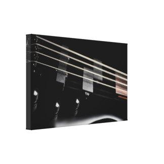 Primer negro de la guitarra baja impresión en lienzo