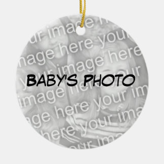 Primer ornamento de la acción de gracias del bebé adorno redondo de cerámica