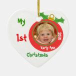 Primer ornamento de la foto del navidad del bebé adornos de navidad