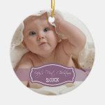Primer ornamento del navidad del bebé de encargo ( ornamentos de navidad