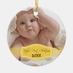 Primer ornamento del navidad del bebé de encargo ( ornato