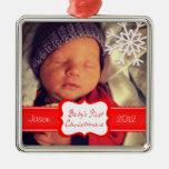 Primer ornamento del navidad del bebé de encargo adorno