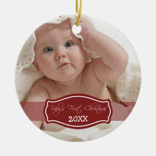 Primer ornamento del navidad del bebé de encargo adorno navideño redondo de cerámica