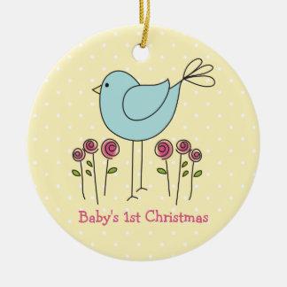 Primer ornamento del navidad del bebé lindo del