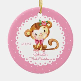 Primer ornamento del navidad del mono del bebé