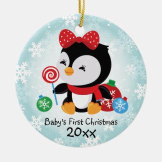 Primer ornamento del pingüino del navidad del bebé