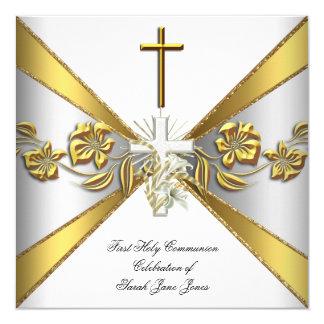 Primer oro 2 florales blancos de la comunión santa invitación 13,3 cm x 13,3cm