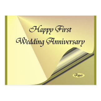Primer papel feliz de aniversario de boda postal