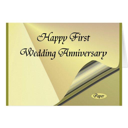 Primer papel feliz de aniversario de boda tarjeta