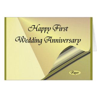 Primer papel feliz de aniversario de boda tarjeta de felicitación