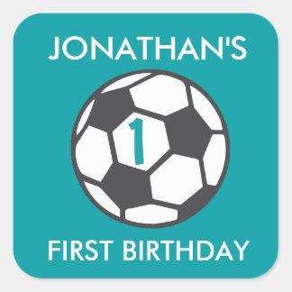 Primer pegatina del balón de fútbol del cumpleaños