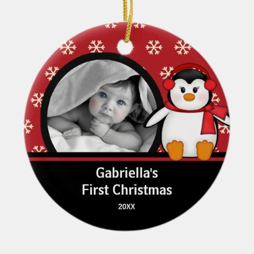 Primer pingüino del ornamento de la foto del navid ornato