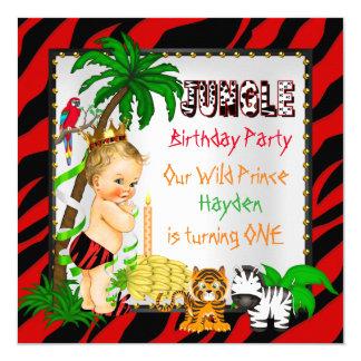 Primer príncipe salvaje Blonde del safari de selva Invitación 13,3 Cm X 13,3cm