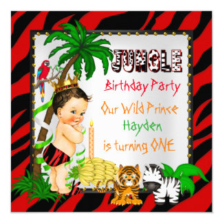 Primer príncipe salvaje Brunette del safari de Invitación 13,3 Cm X 13,3cm