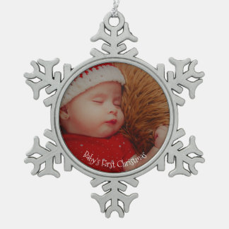 Primer recuerdo del navidad de su bebé de la foto adorno de peltre en forma de copo de nieve