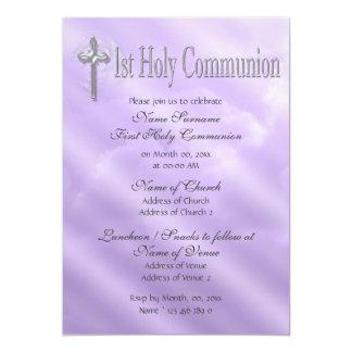 Primer religioso púrpura de la comunión santa invitación 12,7 x 17,8 cm