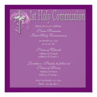 Primer religioso púrpura de la comunión santa invitación