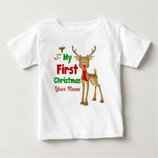 Primer reno del navidad del bebé camiseta de bebé