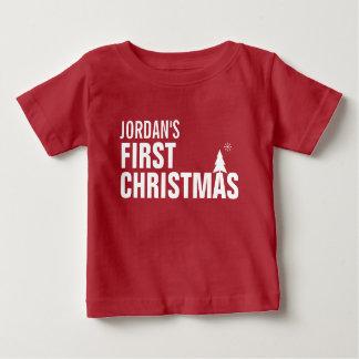 Primer rojo de la camiseta del bebé del navidad