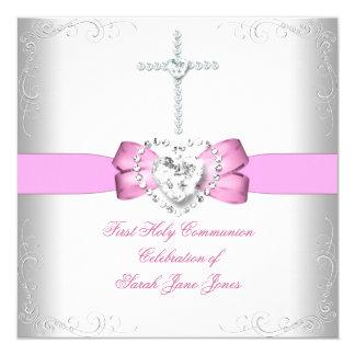 Primer rosa blanco de la comunión santa del chica invitación 13,3 cm x 13,3cm
