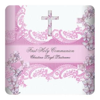 Primer rosa bonito del cordón de la comunión santa invitación 13,3 cm x 13,3cm