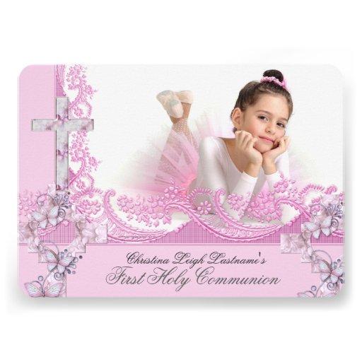 Primer rosa bonito del cordón de la comunión santa invitacion personal