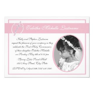 Primer rosa de la foto de la comunión invitación 12,7 x 17,8 cm
