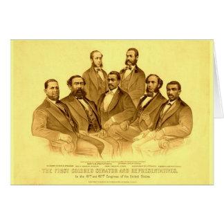 Primer senador y representantes afroamericanos tarjeta