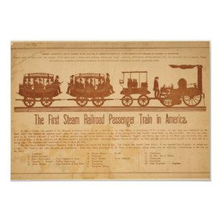 Primer tren de pasajeros del ferrocarril del vapor invitación 8,9 x 12,7 cm