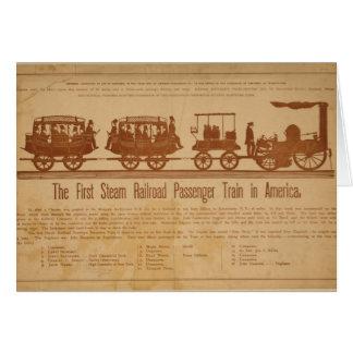 Primer tren de pasajeros del ferrocarril del vapor tarjeta de felicitación