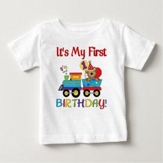 Primer tren del cumpleaños del bebé camiseta de bebé
