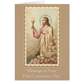 Primera cáliz de Jesús de la comunión santa Tarjeta De Felicitación