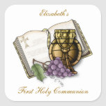 Primera cáliz de la comunión, biblia, uvas pegatina cuadrada