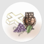 Primera cáliz de la comunión, cruz, uvas pegatina redonda