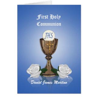 Primera cáliz de la invitación de la comunión en tarjeta de felicitación