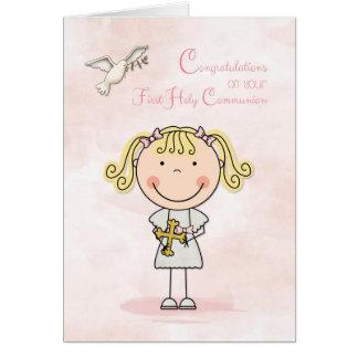 Primera comunión, chica rubio, enhorabuena tarjeta de felicitación