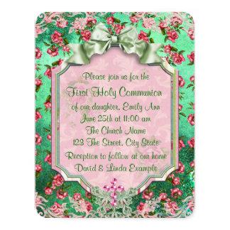 Primera comunión color de rosa rosada invitación 10,8 x 13,9 cm