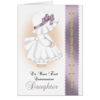 Primera comunión de la hija con poco chica del tarjeta de felicitación