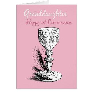 Primera comunión de la nieta, rosada tarjeton