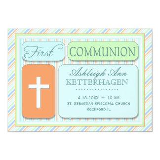 Primera comunión de las rayas frescas de la invitación 12,7 x 17,8 cm